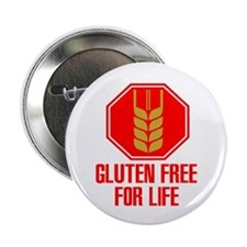 "Gluten Free For Life Stop 2.25"" Button (10 pack)"