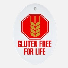 Gluten Free For Life Stop Oval Ornament