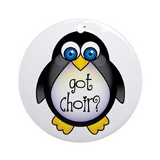 Cute Penguin Choir Ornament (Round)