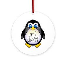Cute Penguin Choir Ornament (Round)