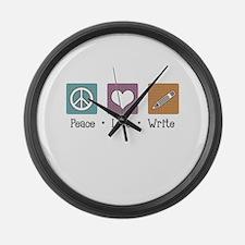 Peace Love Write Large Wall Clock