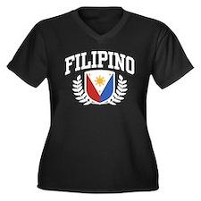 Filipino Women's Plus Size V-Neck Dark T-Shirt
