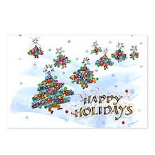 Dancing Christmas Trees postcards