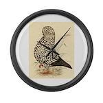 Tumbler Pigeon: Black Splash Large Wall Clock