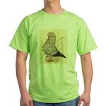 Tumbler Pigeon: Black Splash Green T-Shirt