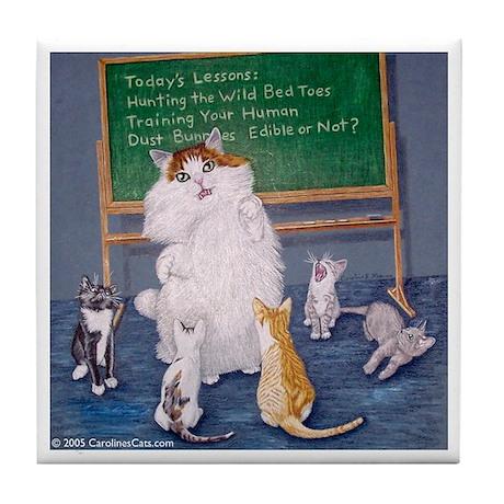 Teaching Cat Tile Coaster
