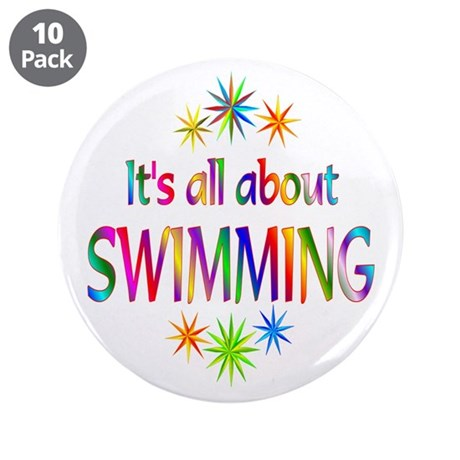 "Swimming 3.5"" Button (10 pack)"