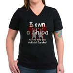 Ask Me Why Not To Buy A Shiba Women's V-Neck Dark