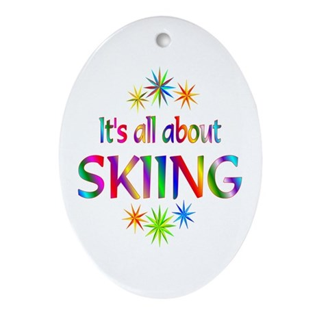 Skiing Oval Ornament