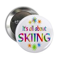 "Skiing 2.25"" Button (10 pack)"