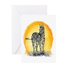 Zebra Sunset Greeting Card