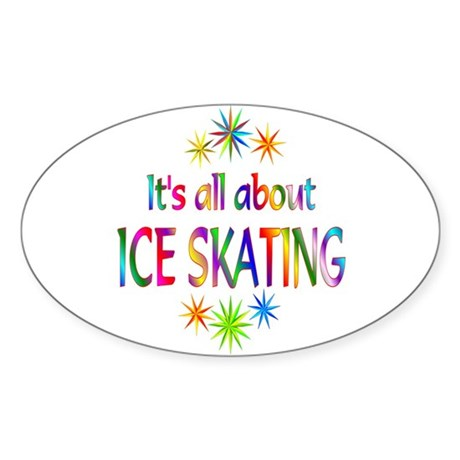 Ice Skating Oval Sticker