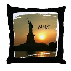 NYC Lady Liberty Throw Pillow