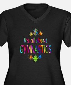 Gymnastics Women's Plus Size V-Neck Dark T-Shirt