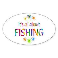 Fishing Oval Sticker (10 pk)