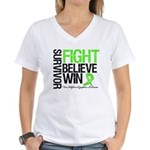 NonHodgkinsFightWin Women's V-Neck T-Shirt