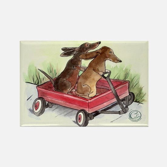 Red Wagon Dachshund Rectangle Magnet