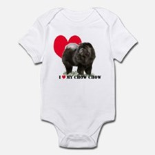 Black Chow Heart Infant Bodysuit