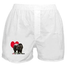 Black Chow Heart Boxer Shorts