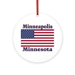 Minneapolis Flag Ornament (Round)