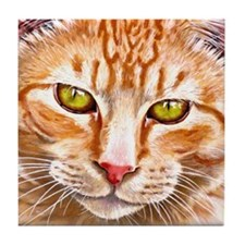 Orange Tabby Painting Tile Coaster