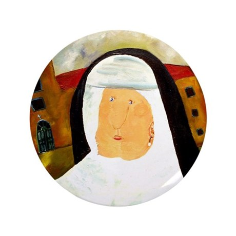 """NUN WITH A PEARL EARRING 3.5"""" Button (100 pac"""