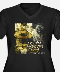 You Alone Are Holy Women's Plus Size V-Neck Dark T