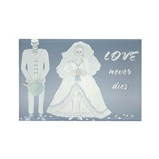 Love Never Dies Wedding Skeleton Rectangle Magnet