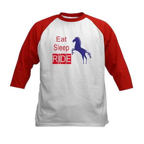 Eat Sleep Ride Horse Lover Kids Baseball Jersey