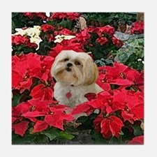 Lhasa Apso Blonde Christmas Tile Coaster