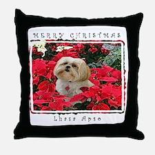 Lhasa Apso Blonde Christmas Throw Pillow
