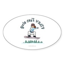 Red Snowboarding Oval Decal