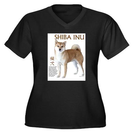 SHIBA INU Women's Plus Size V-Neck Dark T-Shirt