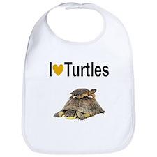 I LOVE TURTLES Bib