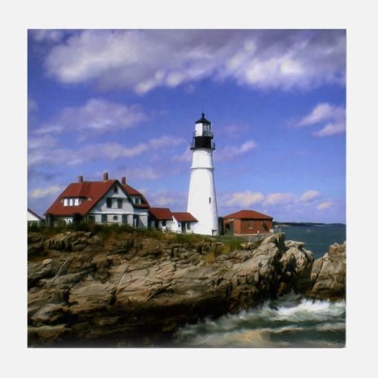 Maine Lighthouse Tile Coaster