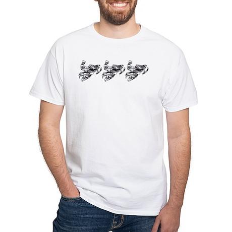 3 Grey Camo Sledders White T-Shirt