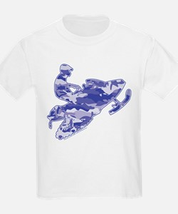 Camoflage Snowmobiler in Blue T-Shirt