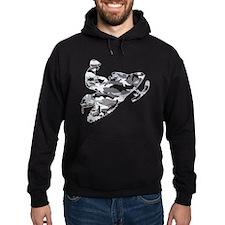 Camoflage Snowmobiler in Grey Hoodie