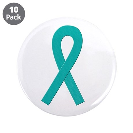 """Teal Ribbon 3.5"""" Button (10 pack)"""