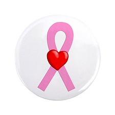 "Pink Ribbon Heart 3.5"" Button"