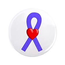 "Periwinkle Ribbon Heart 3.5"" Button"