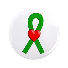"Green Ribbon Heart 3.5"" Button"