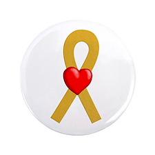 "Gold Ribbon Heart 3.5"" Button"