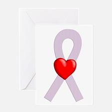 Orchid Ribbon Heart Greeting Card