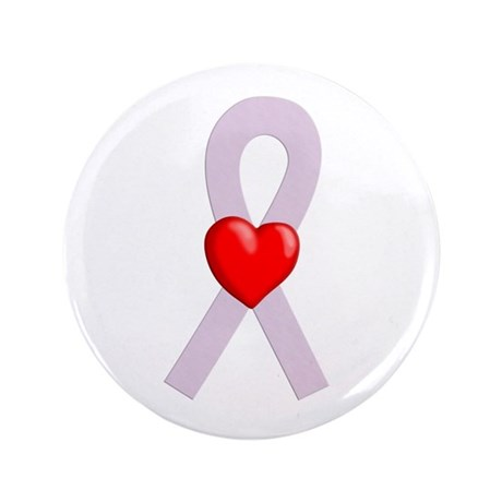 """Orchid Ribbon Heart 3.5"""" Button"""