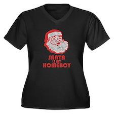 Santa Is My Homeboy Women's Plus Size V-Neck Dark
