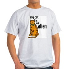Alien Cat Ash Grey T-Shirt