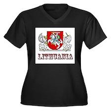Unique Lietuva Women's Plus Size V-Neck Dark T-Shirt