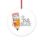 Happy Pencil 1st Grade Ornament (Round)