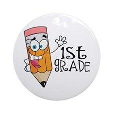 Happy Pencil 1st Grade Ornament (Round)